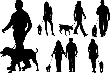 people walking dogs silhouettes - vector Vector