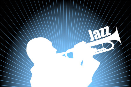 jazz musician on the abstract background - vector Vector