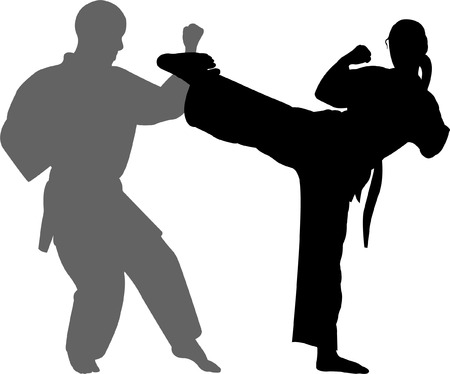 girl fist: karate match - vector