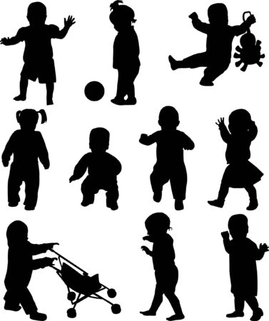black baby boy: babies collection - vector