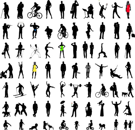 people silhouettes collection - vector Vector