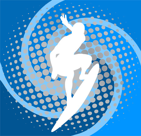surfer on the abstract blue background Vector
