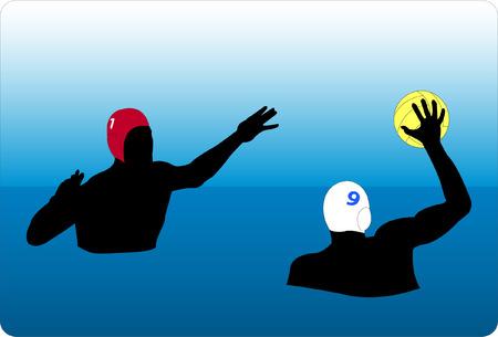 polo player: water polo action - vector