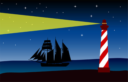 lighthouse at night: faro en la noche - vector