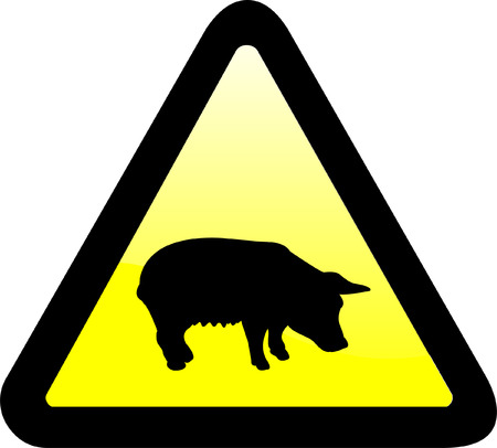 swine flue: warning sign - vector Illustration
