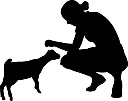 girl with little goat - vector Vector