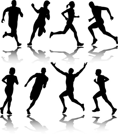pentathlon: people running - vector Illustration
