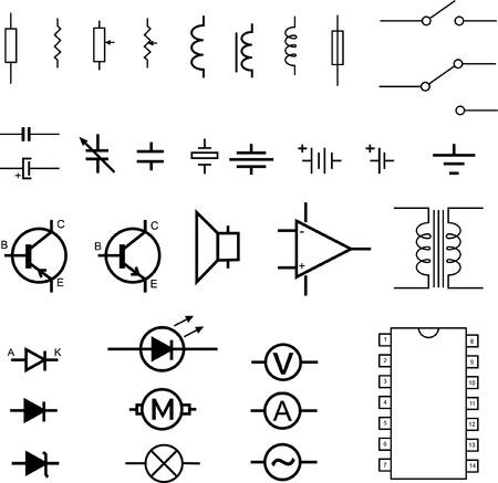 transitor: s�mbolos electr�nicos - vector Vectores