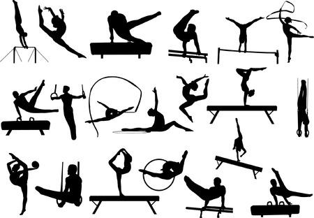 gymnasts: gymnastics collection vector