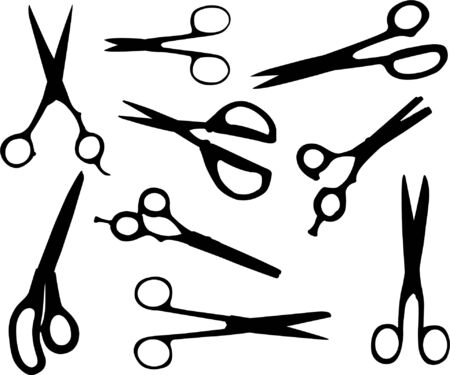 paper scissor: scissors collection - vector Illustration