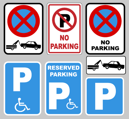 """""""parking"""" and """"no parking""""signs - vector"""
