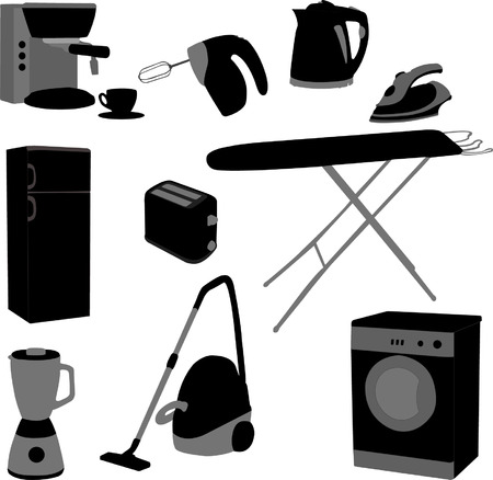 dry cleaner: domestic set - vector Illustration