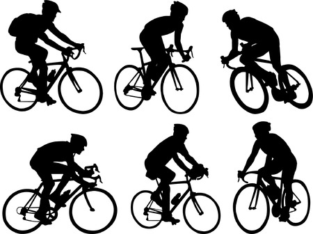 bicyclists collection - vector Stock Vector - 5061363
