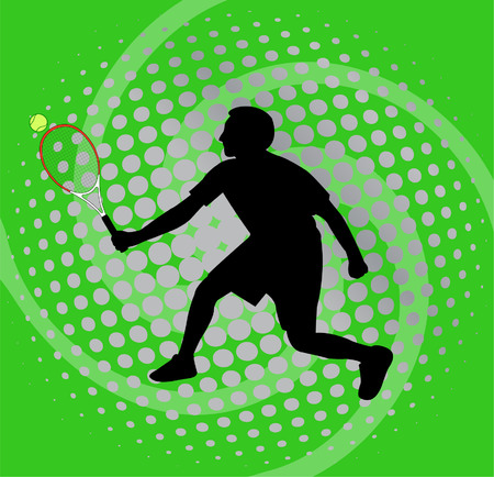 smash: tennis player on abstract background - vector Illustration