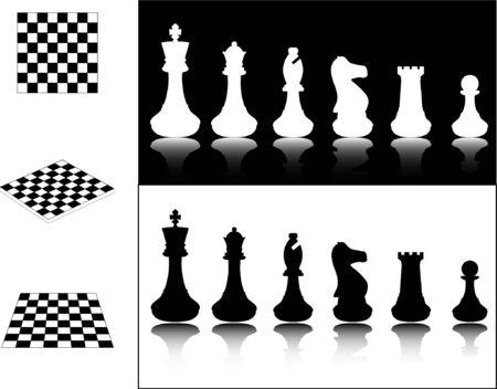 tablero de ajedrez: piezas de ajedrez y tableros de ajedrez - vector Vectores