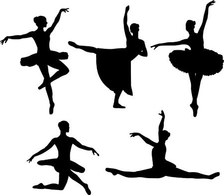 ballet tutu: ballet dancers silhouettes - vector