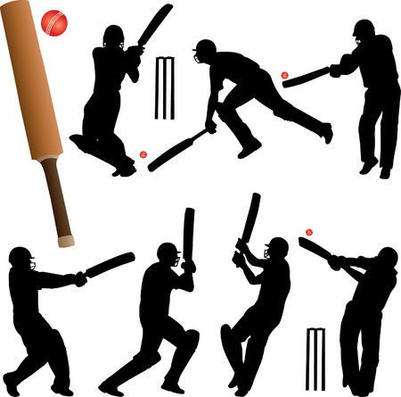 cricket: cricket players collection - vector