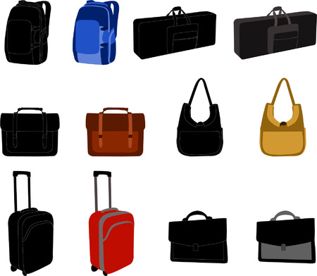 trolley case: bags collection - vector Illustration