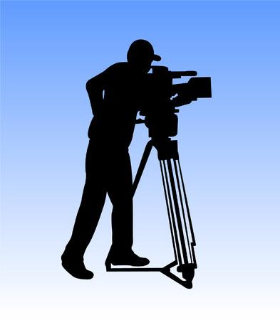 spy camera: cameraman silhouette - vector