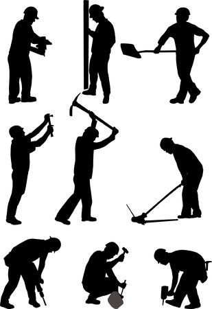 vector, pracowników budowlanych- Ilustracje wektorowe