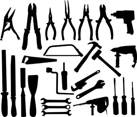 herramientas de carpinteria: herramientas de recogida de siluetas - vector