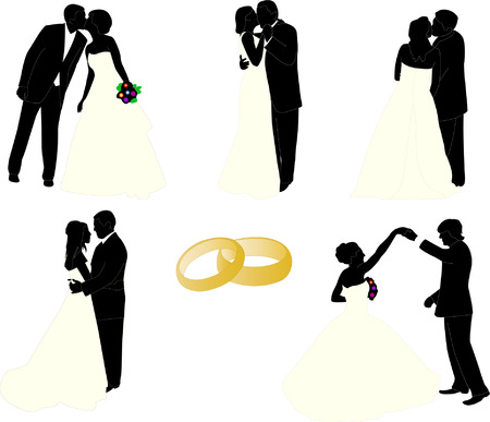 people in church: wedding couples - vector Illustration