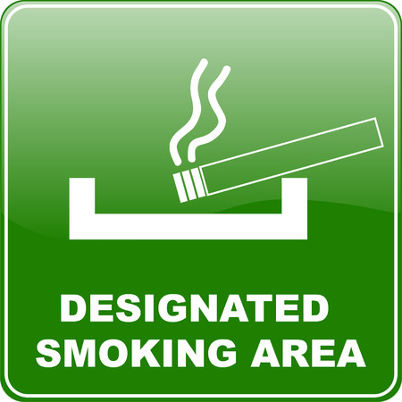 ashtray: designated smoking area sign - vector Illustration