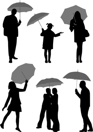 people with umbrella - vector Stock Vector - 5061382