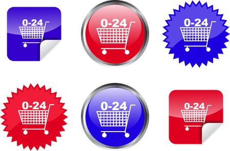 shopping cart buttons, badges and stickers - vector Stock Vector - 5089785