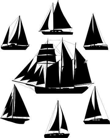 wave tourist: sailing boat silhouettes - vector Illustration