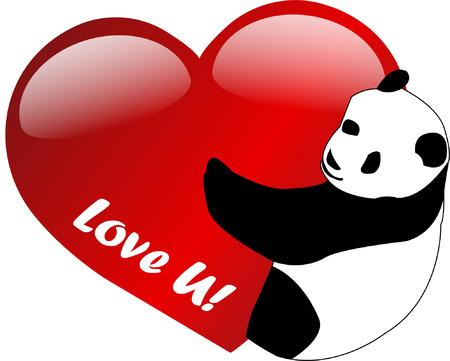 görüntü: I love you -  panda - vector