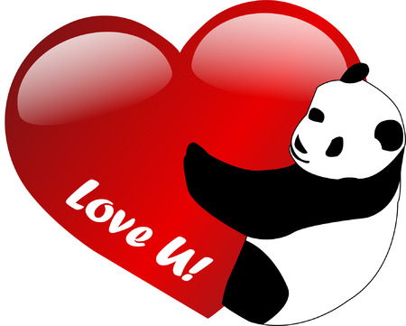 romance image: I love you -  panda - vector