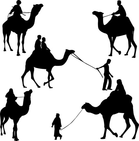 camel riders silhouettes - vector