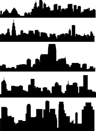 panoramic sky: city skyline - vector