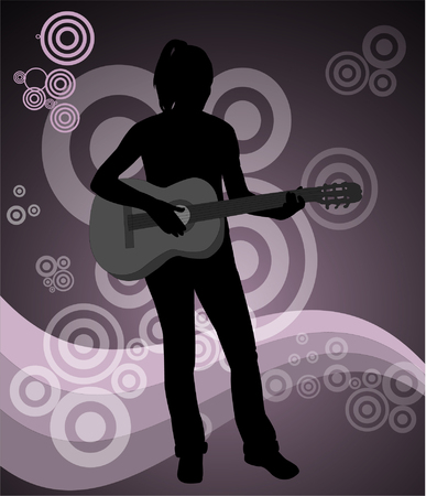 girl with acoustic guitar on the abstract background - vector Vector