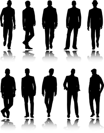nude man: fashion men silhouettes - vector