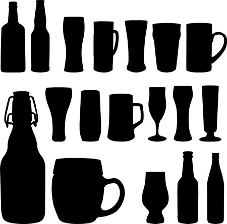 lager: beer bottles and glasses - vector