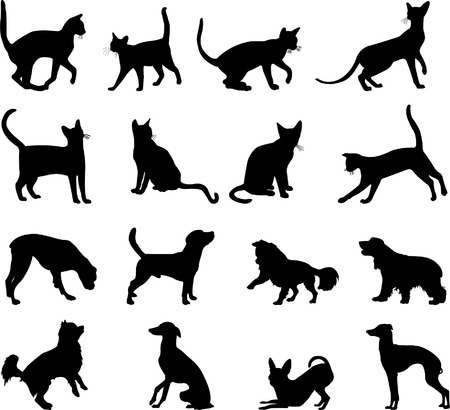 cats and dogs silhouettes - vector Vector