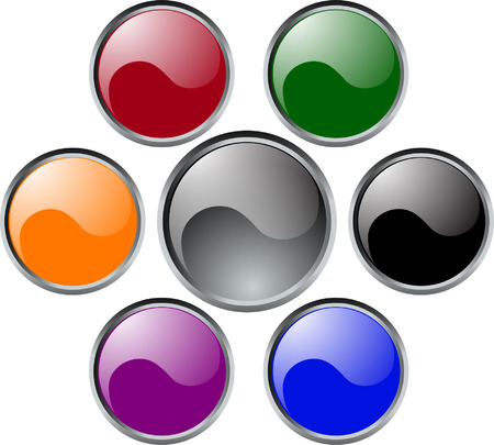 glossy buttons with metallic frame - vector Vector