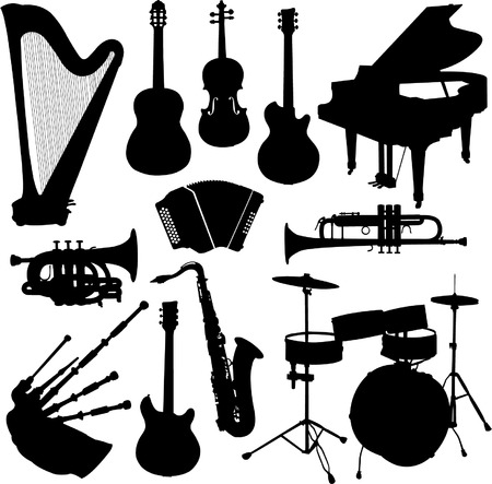 drum and bass: musical instruments - vector