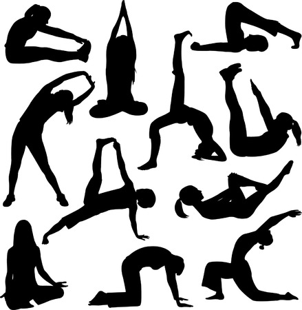 yoga poses silhouettes - vector