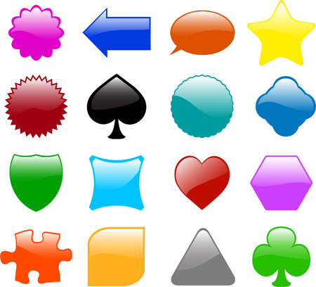 set of sixteen different glossy shapes - vector Vector