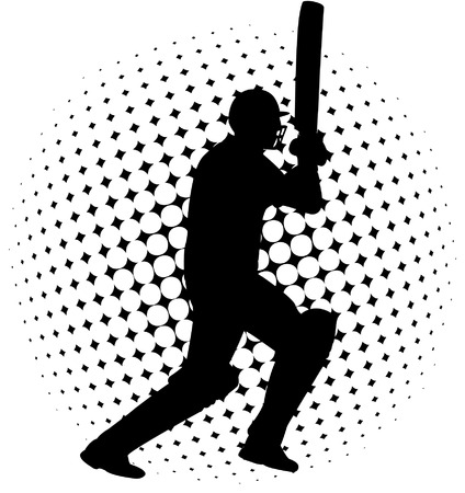 cricket player silhouette on the abstract halftone background - vector
