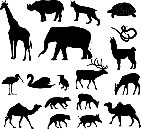 animals silhouettes collection - vector Vector