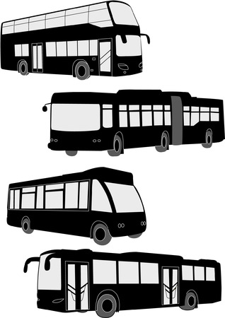 passenger buses: autobuses collection - vector