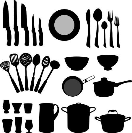 kitchen elements - vector Stock Illustratie