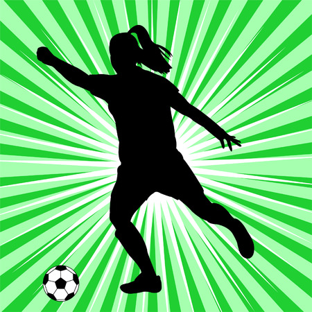 woman soccer player on the abstract green background - vector Vector