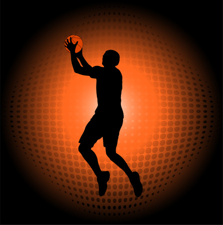 basketball player silhouette on the abstract halftone background - vector