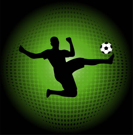 soccer player silhouette on the abstract halftone background - vector Vector