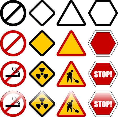 shapes for warning and restriction signs - vector Vector